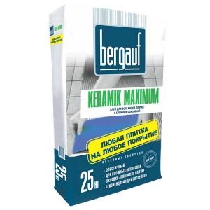 Клей BERGAUF MAXIMUM PLUS для плитки и керамогранита, 25 кг