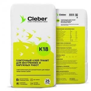 Клей для керамогранита Cleber К18, 25 кг
