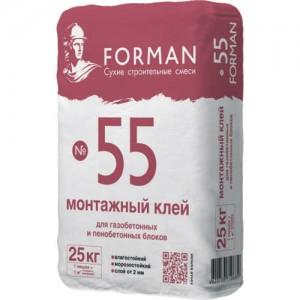 Клей для пенобетонных и газобетонных блоков Forman 55